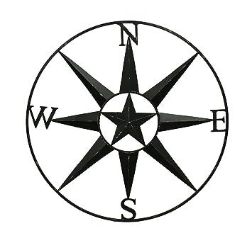 amazon com zeckos metal wall sculptures compass rose western star