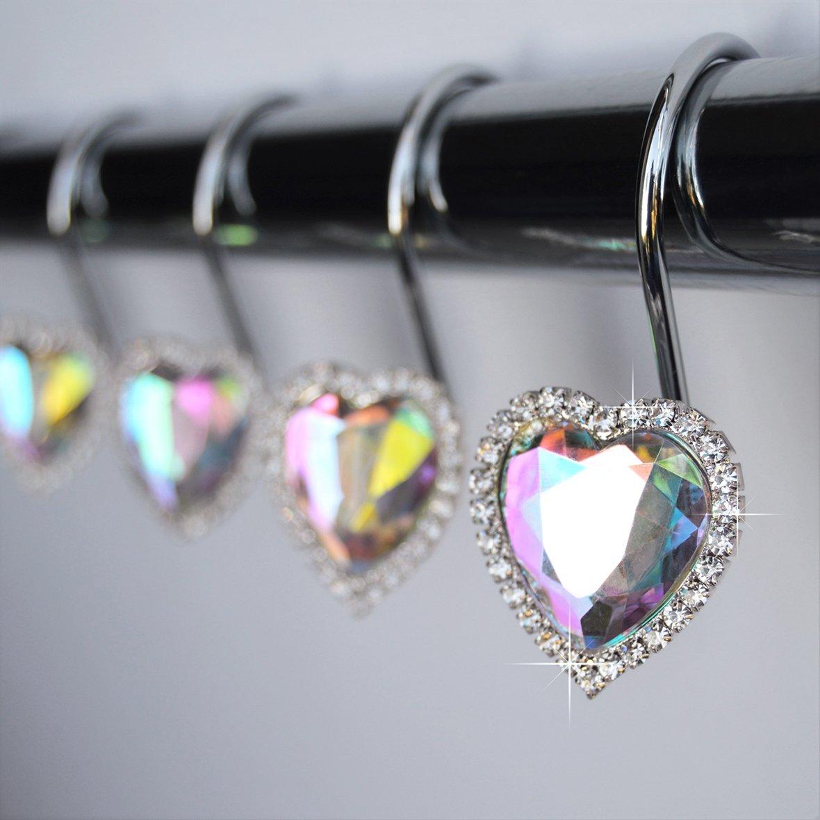 American Cuteness Shower Curtain Hooks Rings - Heart Multi Color Vintage Look Iridescent Rainbow Diamond Decorative Crystal Bling Rhinestones Bathroom Bath Set Gift Valentine Girl (Multi Color)