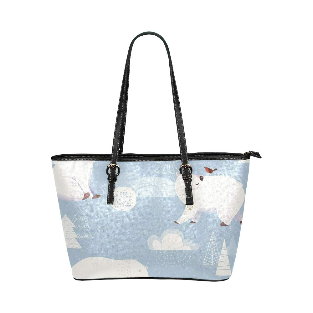 Cute Big Polar Bear Hand Drawn Large Soft Leather Portable Top Handle Hand Totes Bags Causal Handbags With Zipper Shoulder Shopping Purse Luggage Organizer For Lady Girls Womens Work