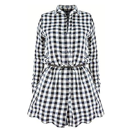 Highdas Damen Kariertes Hemdkleid Langarmshirt Blusenkleid Karierte Bluse  Lang Hemden Blusen Plaid Shirts Hemd Minikleid Button Up Schwarz Weiß S M L  XL  ... 95aa328172