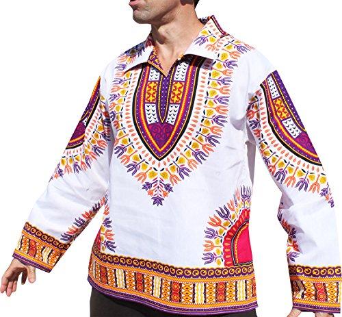 New Fair Trade Handmade Art - RaanPahMuang Brand European Poets Collar Long Sleeve Shirt African Dashiki Art, Large, New White Violet
