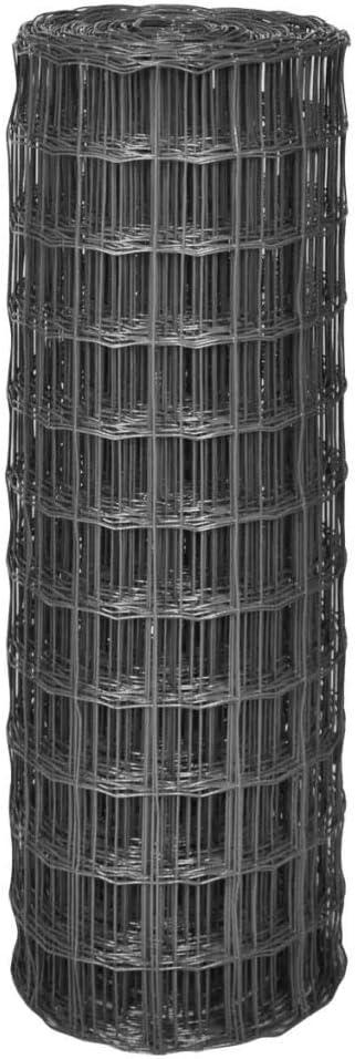 vidaXL 142519 Euro-Zaun Au/ßengehegen 10x0,8 m mit 77x64 mm Maschendraht Stahl Grau