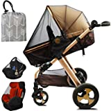 Stroller Netting Mosquito for Baby, Sewn in Pouch Organizer, for Cribs, Toddler Mosquito Net for Stroller with Storage…