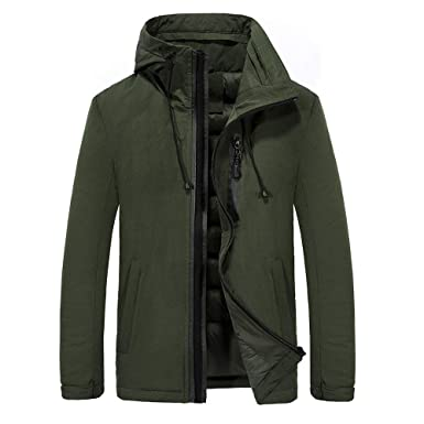 0df938227 Fabal Autumn and Winter Fashion Slim Jacket Mens Plus Velvet Padded Hooded  Jacket Extra Thick Warm