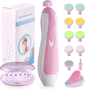 Baby Nail File Electric Nail Trimmer Manicure Set with Nail Clippers, Toes Fingernails Care Trim Polish Grooming Kit Safe for Infant Toddler Kids or Women, LED Light and 10 Grinding Heads, Pink/White