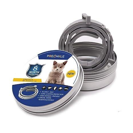 Prechkle Collar Anti Pulgas y Garrapatas para Perros y Gatos, Prevención por 8 Meses de Pulgas y Garrapatas, Fórmula Natural, Ajustable y Resistente ...