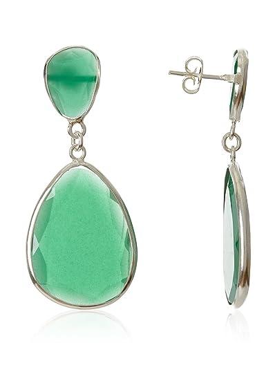 Córdoba Jewels | Pendientes en plata de Ley 925 con piedra semipreciosa. Diseño Luxury Esmeralda Plata: Amazon.es: Joyería