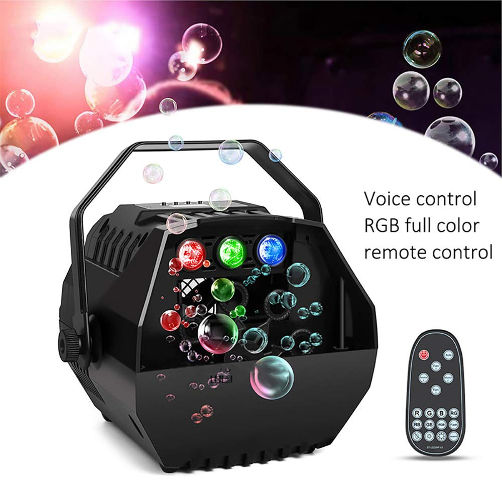 POWSTRO K LED Bubble Machine, Automatic Bubble Blower LED Screen Operation Or Wireless Remote Control Adjustable Speed Levels for Kid, Birthday Party, Wedding, Stage