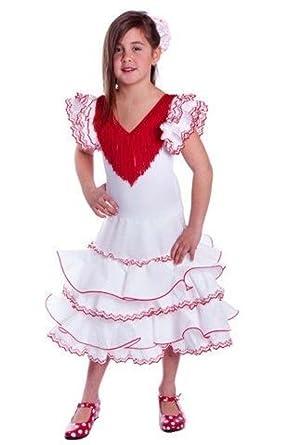 80721e27601c La Senorita Spanish Flamenco Dress Superior - Girls / Kids - White Red -  Size 10 - Length 85 cm, 33 inch: Amazon.co.uk: Clothing