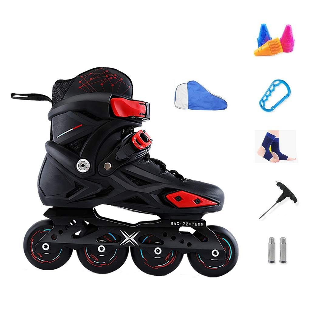 YANGXIAOYU Inline Skates, All-Round Breathable Design Inline Skates Set Red Blue Suitable for Men and Women Boys Girls (Color : Black, Size : 38 EU/6 US/5 UK/24cm JP)
