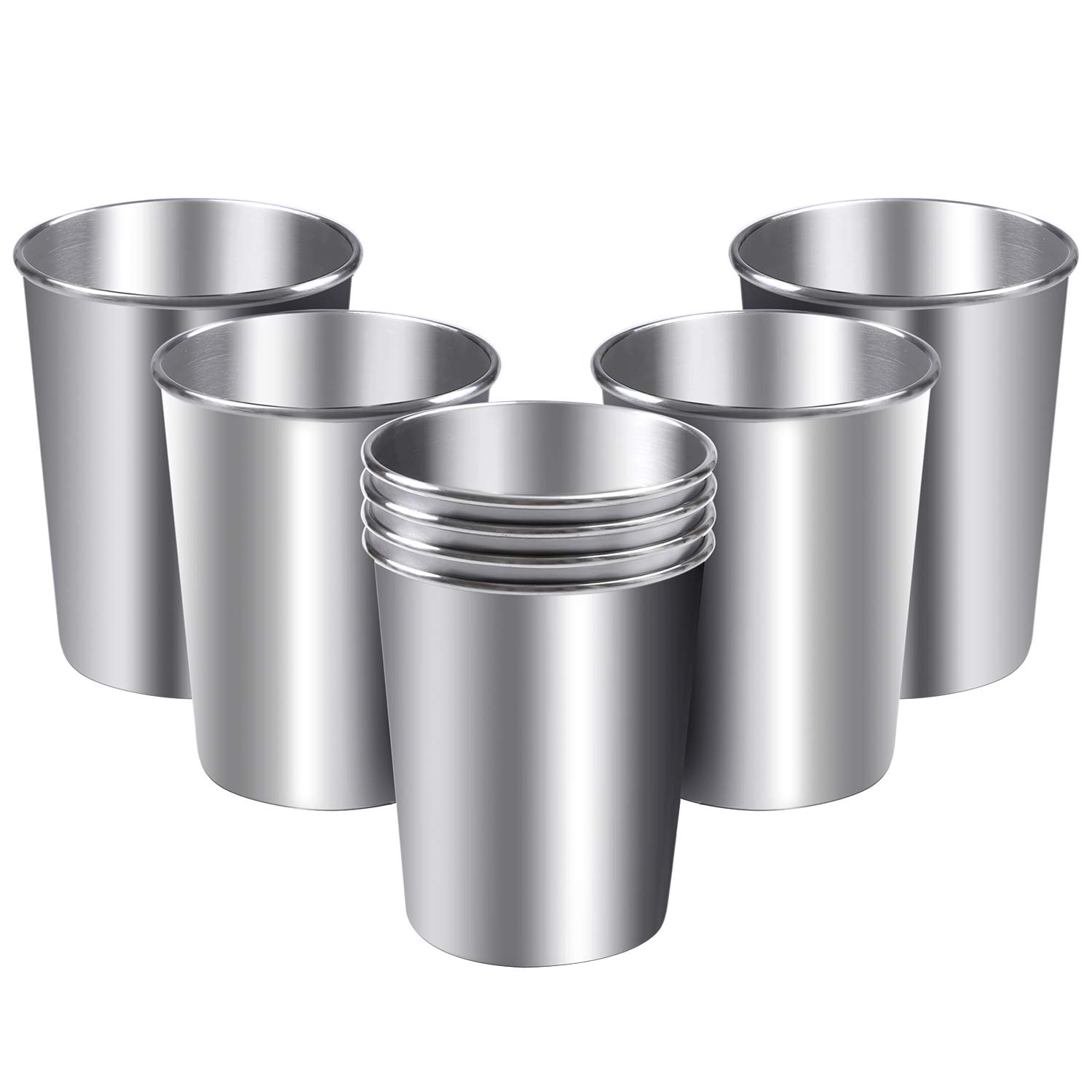 Aneco 8 Pack 8 Ounce Stainless Steel Cups Shatterproof Pint Cup Tumblers Unbreakable Metal Drinking Glasses
