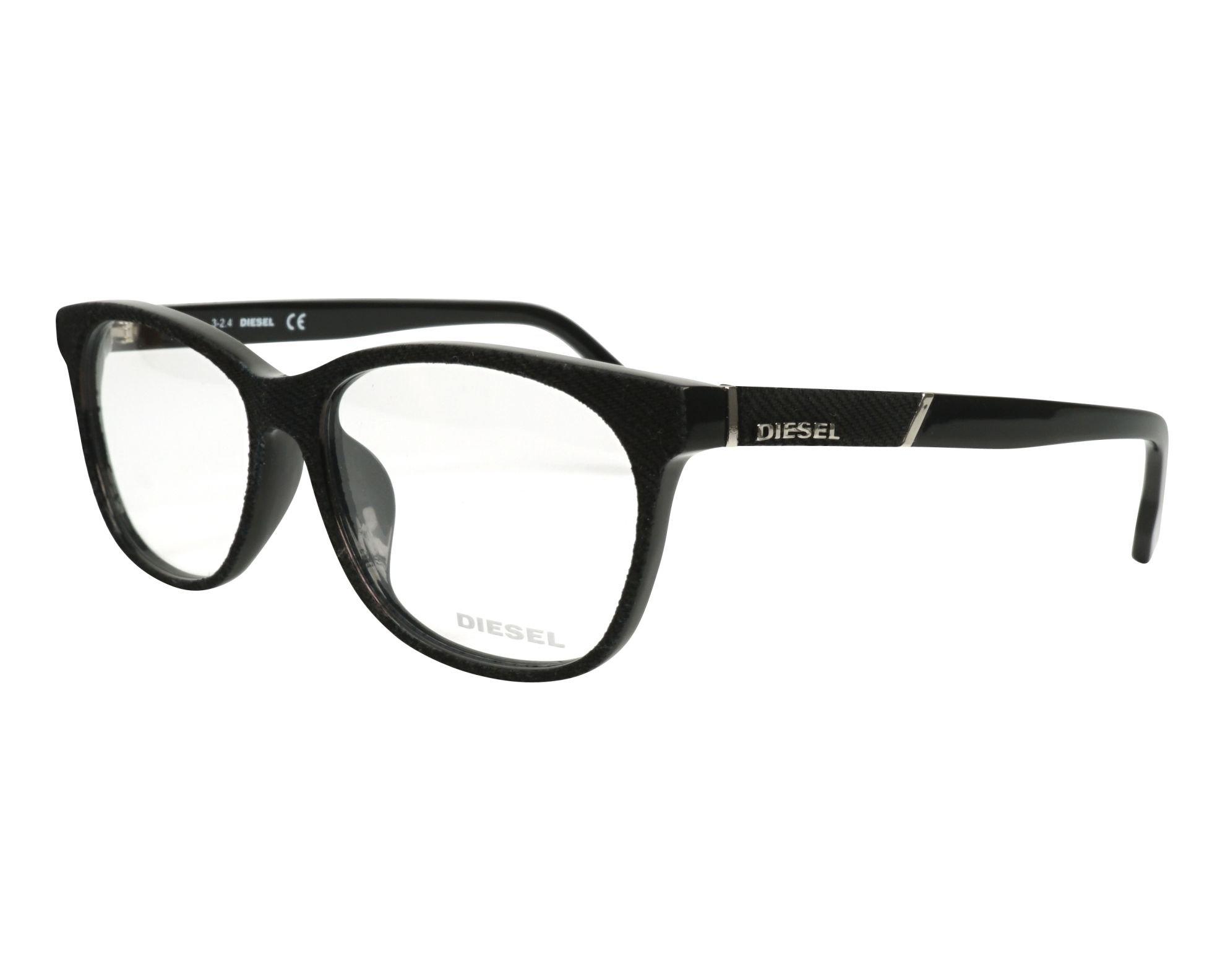Diesel Rx Eyeglasses Frames DL5144-D 005 58-16-150 Black Denim / Black Asian Fit