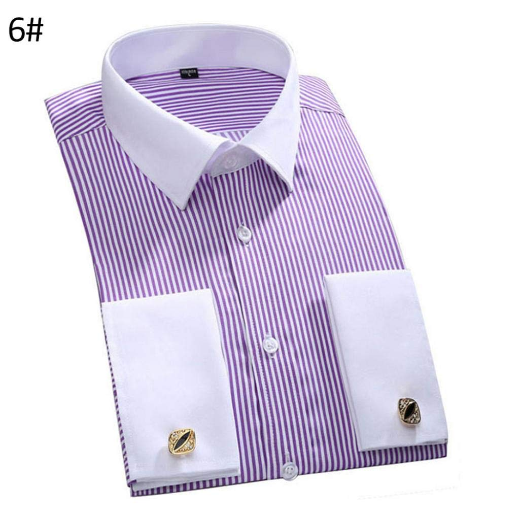 Men French Style Convertible Cuff Buttons Down Striped Shirt with Cufflinks 11# 45