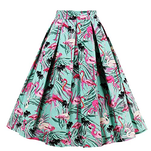 Girstunm Women's Pleated Vintage Skirt Floral Print A-line Midi Skirts with Pockets Red-Crowned Crane XXX-Large