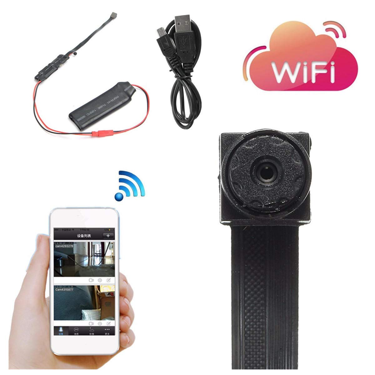 mini wifi module camera cctv ip wireless surveillance camera for android  ios - security cameras camera module - 1 x mini camera 1 x usb cable 1 x  english