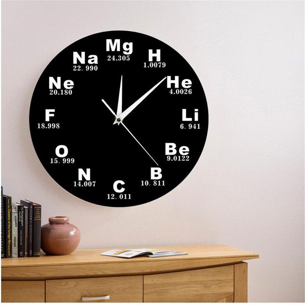 Shuangklei Elementos Químicos Reloj De Pared Periódico Diseño Moderno Símbolos Químicos Biología Reloj De Pared Reloj De Tiempo Profesores De Ciencias ...