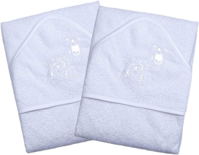 Un juego de dos toallas de ba/ño con capucha de lujo para beb/é 100/% algod/ón en rosa o azul con lindos apliques de animales
