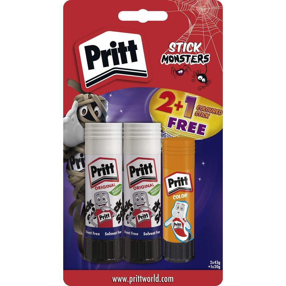 Grande colle de bâton non-toxique lavable de 43g - paquet de 2 avec 20g de couleur gratuit Pritt