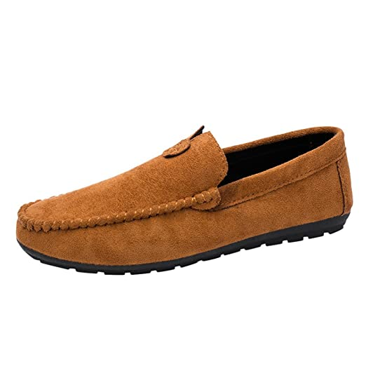 619b6c1d69e Men Leather Shoes Men Comfortable Suede Shoes Style Young Cool Men s Casual  Driving Bean Solid Color