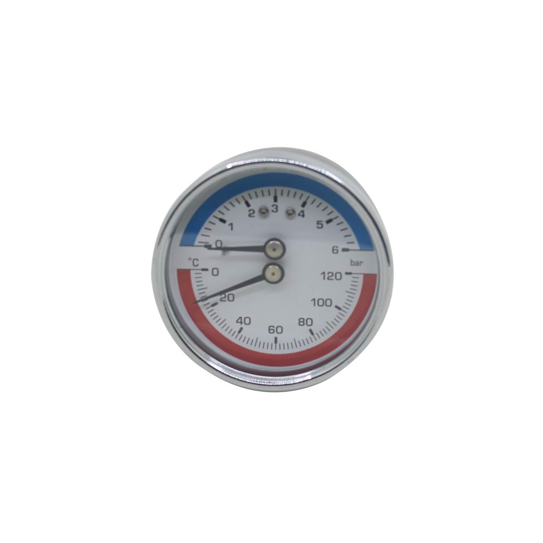63mm 80mm - manometro temperatura y presion caldera leña rosca axial calefaccion 0~6 0~10 0~16 bar (80mm 0-10bar 1/4