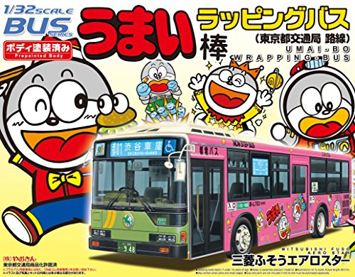 1/32 Umai-Bo Wrapping Bus (Tokyo Metropolitan Bus) Mitsubishi Fuso Aero Star (Model Car) Aoshima Bus|No.27 Aoshima Bus