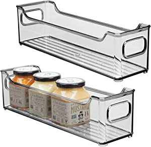 "mDesign Slim Stackable Plastic Kitchen Pantry Cabinet, Refrigerator or Freezer Food Storage Bin with Handles - Organizer for Fruit, Yogurt, Snacks, Pasta - BPA Free, 14.5"" Long, 2 Pack - Smoke Gray"