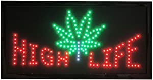 """High Life LED Display Digital Sign with Pot Leaf Wired with On/Off Switch (19"""" x 10"""" x 1"""")"""