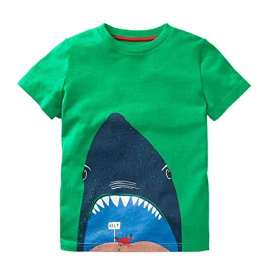 40c1ae8c7 Kids Baby Boys Short Sleeve Cartoon Shark Print Tops T-Shirt Blouse Tees (1