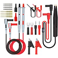 CHPOWER Multimeter Test Leads Kit, 21PCS Digital Electrical Test Probes Set with Alligator Clips Mini Grabber SMD IC…