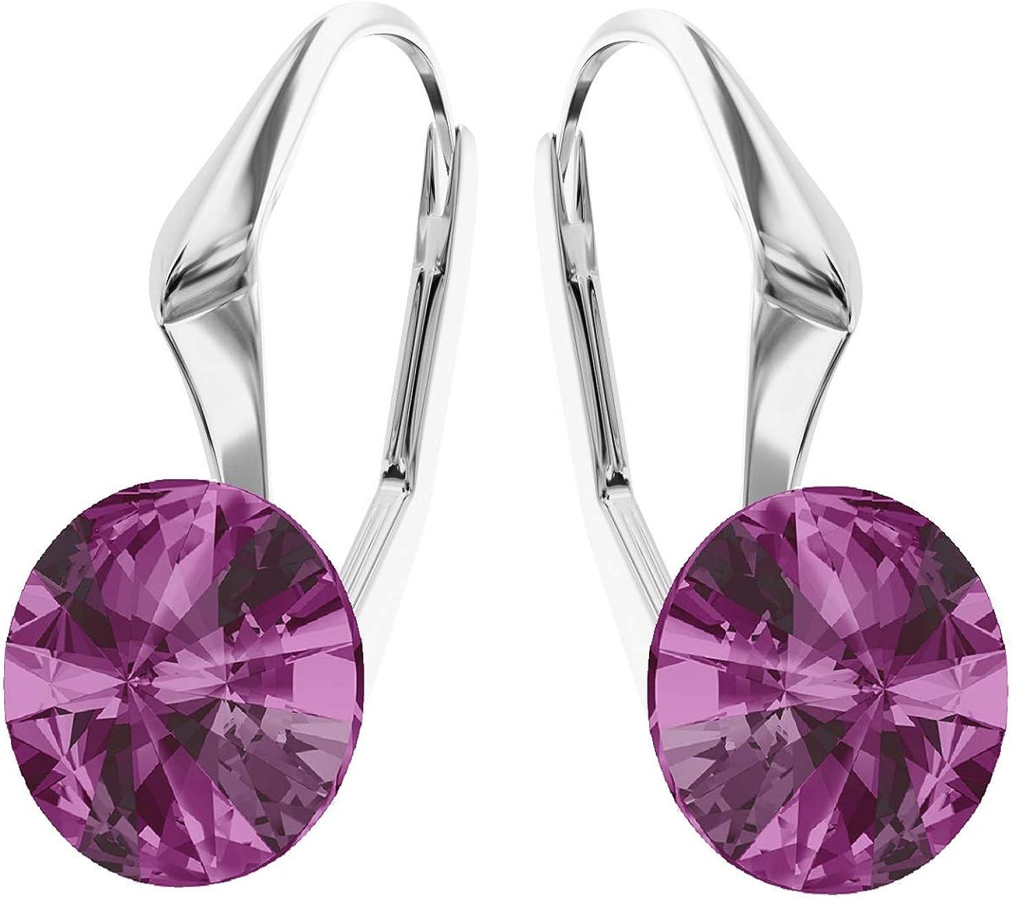 Crystals & Stones * Rivoli * 8 mm * * Fucsia Pendientes – Pendientes con Cristales de Swarovski Elements, ideal como regalo para mujeres o novia pin/75