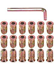 """Glarks 50Pcs 1/4""""-20x20mm Threaded Inserts Nuts Zinc Plated Carbon Steel Hex Socket Drive Furniture Flanged Screw-in Nut with M6 Hex Wrench for Wood Furniture (1/4""""-20 x 20mm)"""