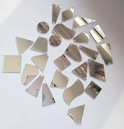 81d0e01827 Amazon.com: 50PCS Silver Sew on Mirror Rhinestones Sew On Mirror ...