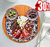 $38.00Cheese Board Plate with 2 Sauce Dipping Bowls Set, Large Stoneware Tray Bamboo Platter, Thanksgiving Christmas Gift