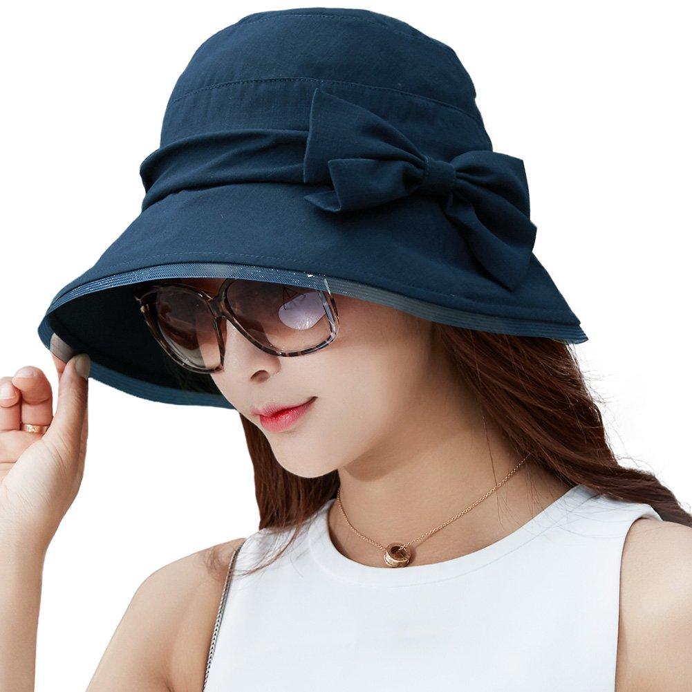 SIGGI Womens Summer Bucket Boonie UPF 50+ Wide Brim Sun Hat Packable Beach Accessories Navy