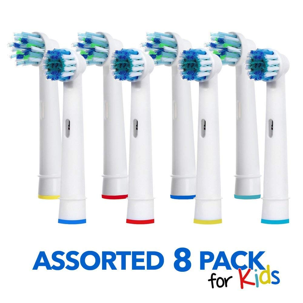 Pearl Enterprises Oral B Braun Compatible Replacement Brush Heads- Generic Oralb Electric Cross Action & Precision Clean Toothbrush Replacement Brushes. 8 Pack Variety- 4 Crossaction & 4 PC Oral-B Kit for Kids & Adults