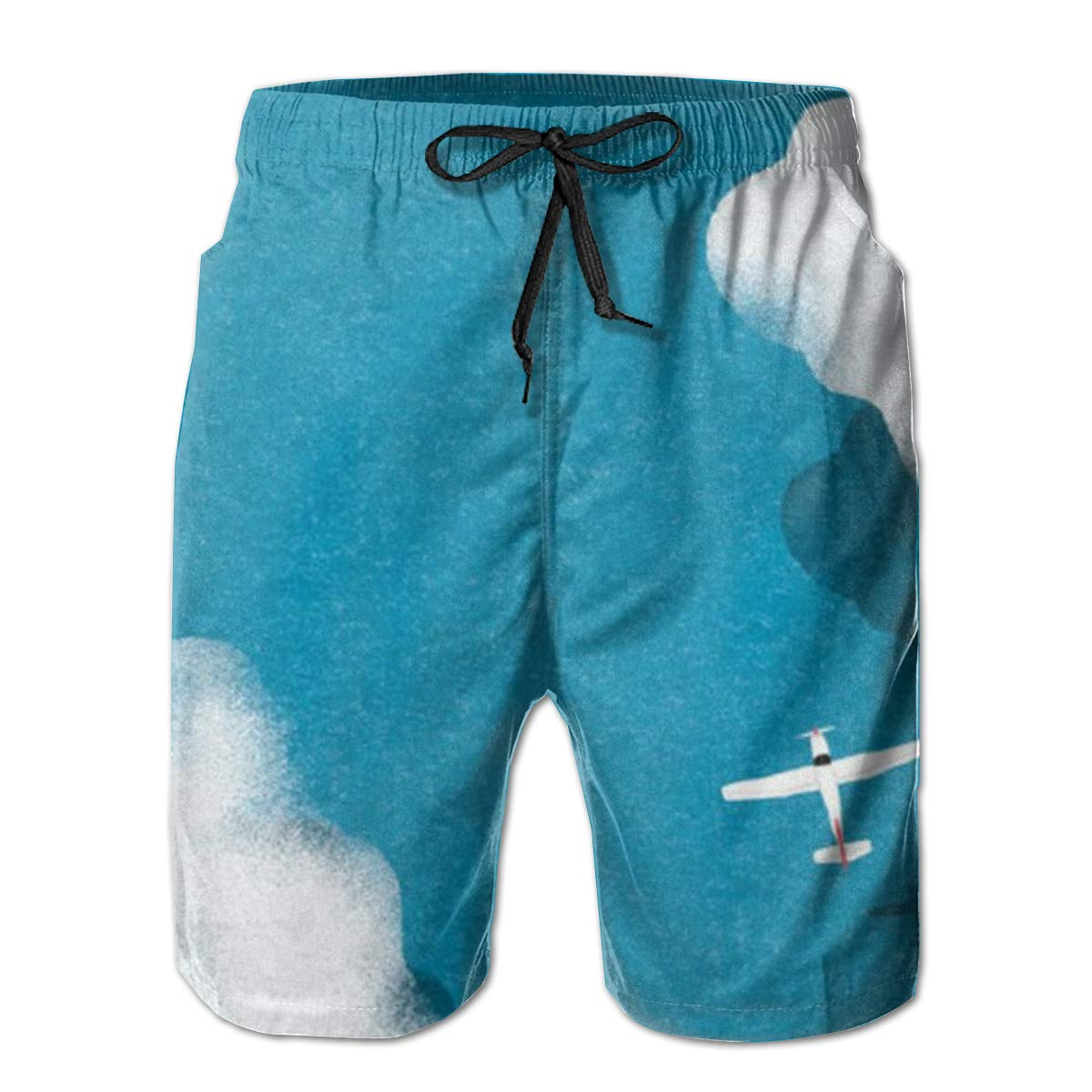 Plane and Sky Men/'s Beach Board Shorts Quick Dry Swim Truck Shorts White