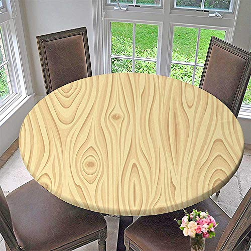 Mikihome Picnic Circle Table Cloths Wooden Texture Pattern Grains of Wood Natural Tree Growth Lines of Nature Organic for Family Dinners or Gatherings 55