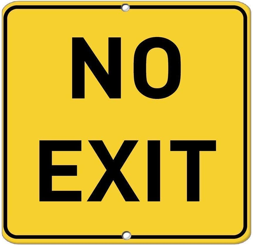 GRYD No Exit Traffic Metal Road Sign,Vintage Metal Tin Sign Decor Home Bar Poster Plaque 8X12 inches