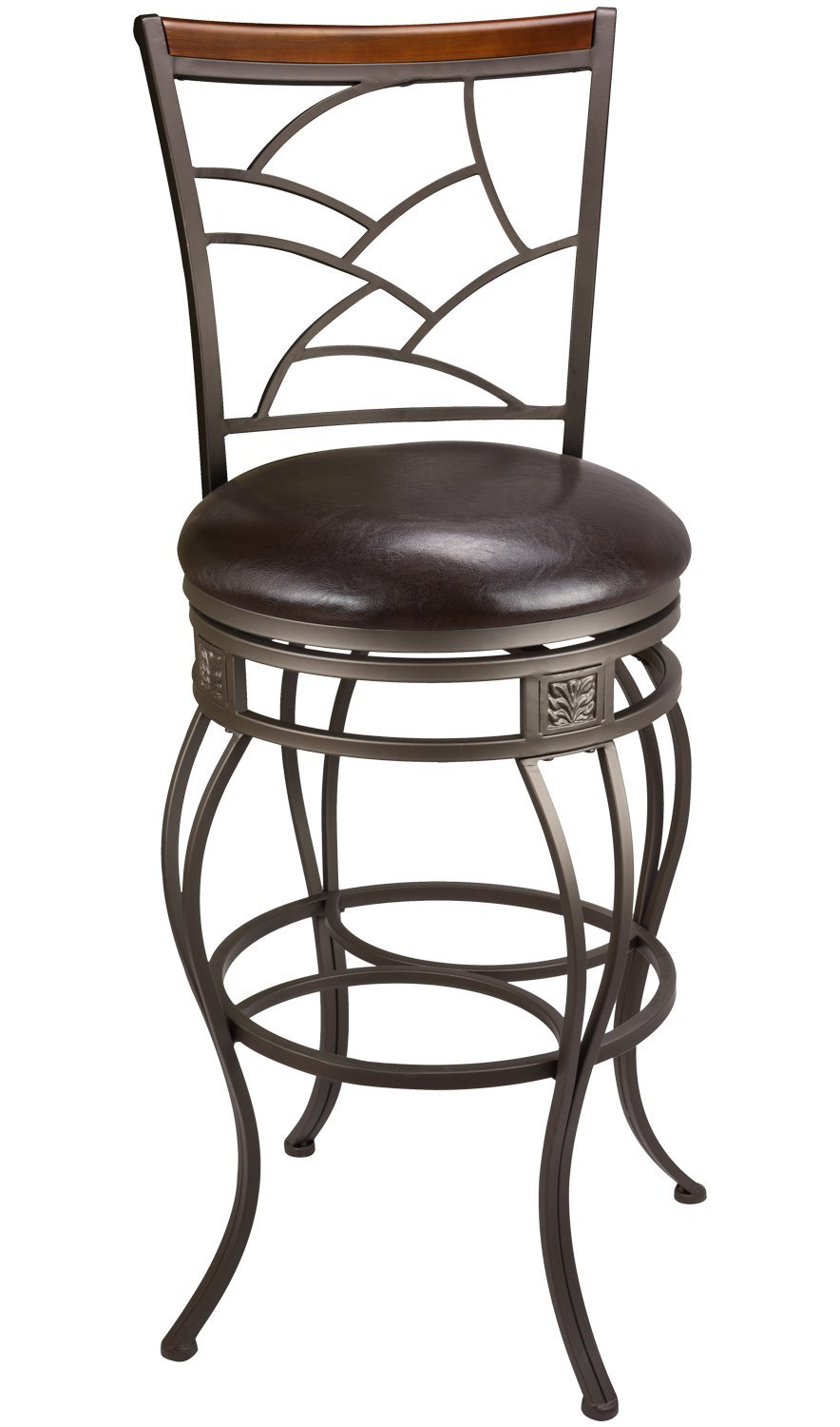 Revel Monarch II 30'' Classic Swivel Bar Stool, Old Steel Finish, Brown Faux Leather Seat