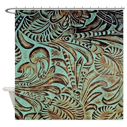 - CafePress Western Rustic Teal Leather Decorative Fabric Shower Curtain (69
