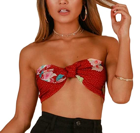 c99736863ea CBTLVSN Women Tube Tie Front Floral Print Chiffon Bra Strapless Crop Tops  Red XS