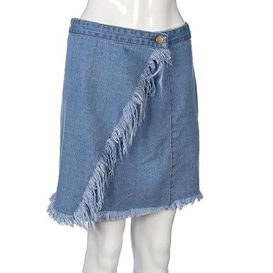 Amazon.com: ShiTou Skirts, Summer Womens High Waist Short Sexy Pocket Blue Denim Skirt: Clothing