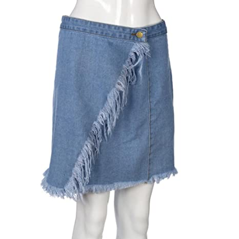 Amazon.com: ShiTou Skirts, Summer Womens High Waist Short Sexy Pocket Blue Denim Skirt: Clothing