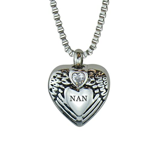 Nan Angel Wings Crystal Heart Urn Pendant Necklace - Memorial Ash Keepsake - Cremation Jewellery - With Engraving nnskRs
