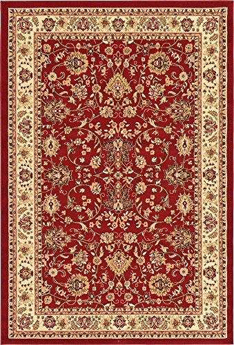 Country Traditional 6 feet by 9 feet (6' x 9') Kashan Burgundy Area Rug