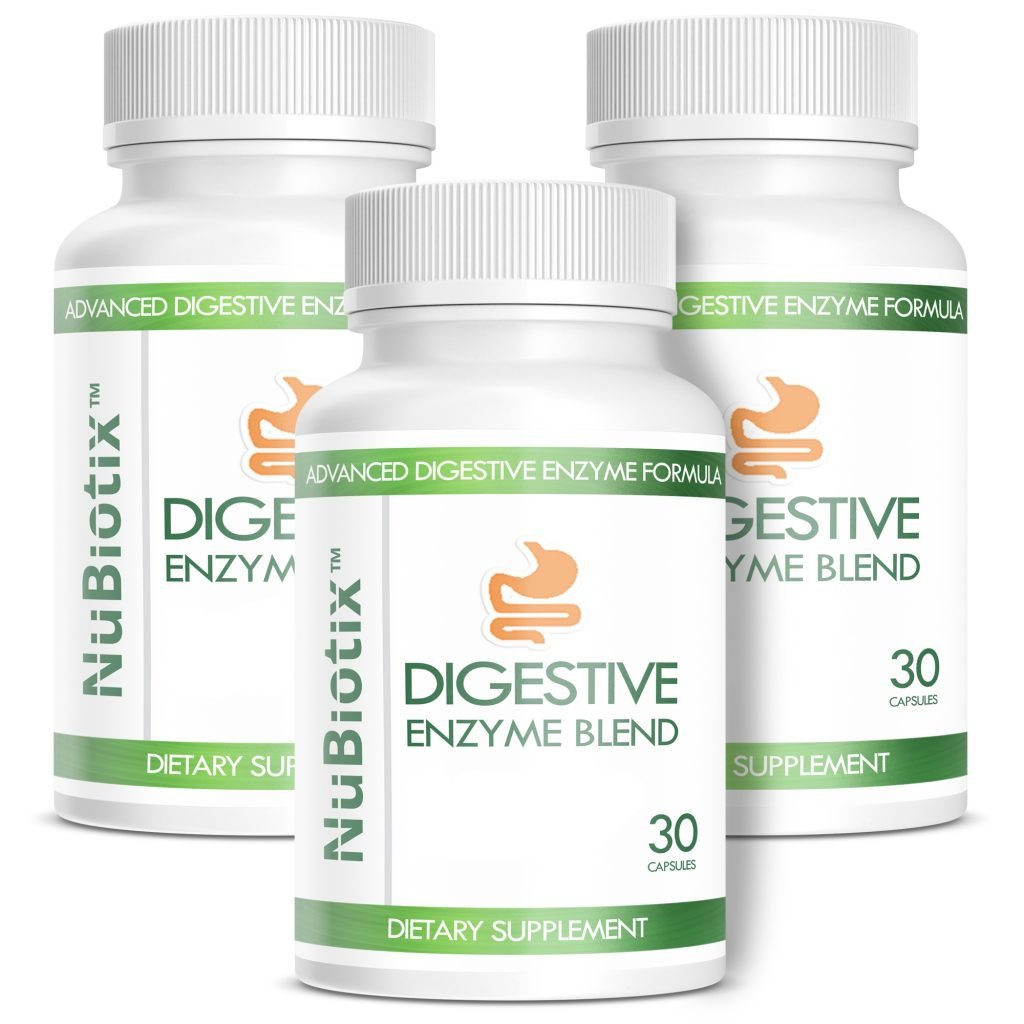 NuBiotix - 3 Bottle Combo - Advanced Digestive Enzymes Blend Dietary Health Supplement For Men & Women - 30 capsules in each bottle