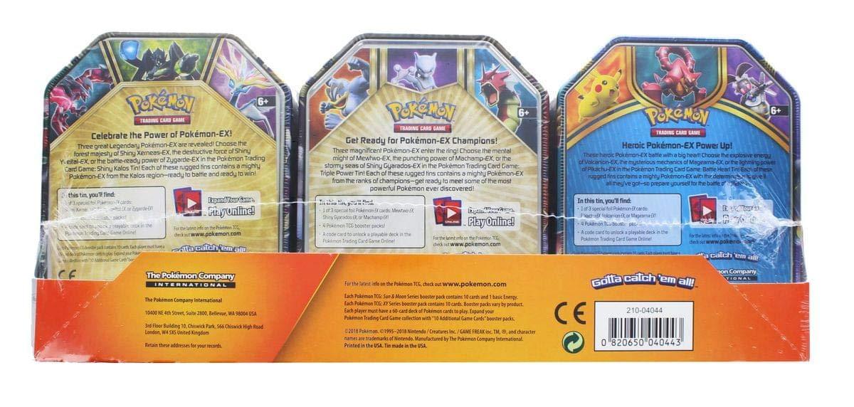 Pokemon Mewtwo EX Triple Power Tin General Pokemon TCG: Battleheart Tin and Shiny Kalos Tin Zygarde Pikachu