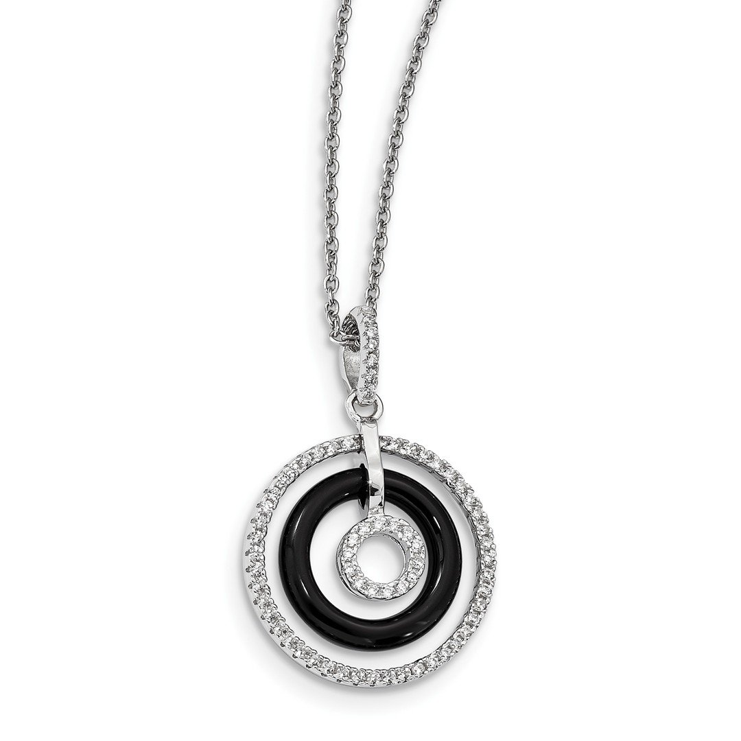 ICE CARATS 925 Sterling Silver Cubic Zirconia Cz Black Onyx Circles Chain Necklace Pendant Charm Fine Jewelry Ideal Gifts For Women Gift Set From Heart