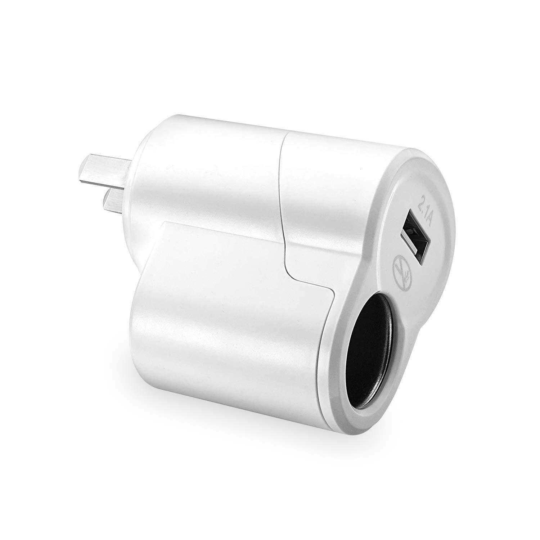 AC to DC Power Socket Adapter Converter, 110V to 12V Car Cigarette Lighter Socket Power Adapter Charger, Household Cigarette Lighter, USB 2.0 Power Outlet, AC to DC Adapter 110~220V to 12V Converter