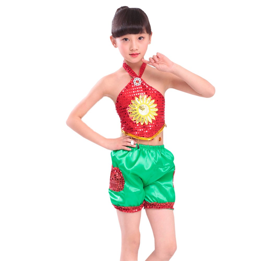 KINDOYO Kids Girls Dance Sequins Sleeveless Gymnastic Group Team Costumes Performance Shorts Set